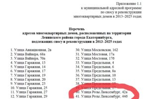 Список домов в киселевске подлежащих сносу