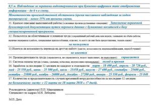 Условия и характер выполняемого труда для мсэк образец