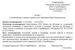 Отчет о командировке образец в свободной форме