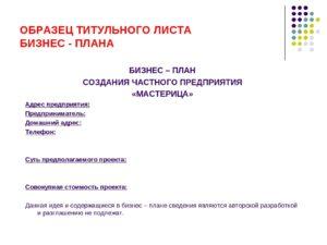 Титульник бизнес проекта