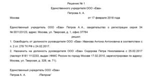 Протокол о внесении изменений в адрес местонахождения ооо