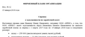 Справка для банка о задержке заработной платы образец