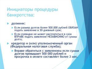 Инициация процедуры банкротства