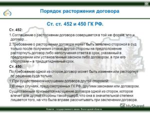 Судебная практика по статье 450 гк рф в жкх