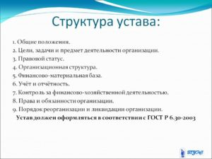 Структура устава организации