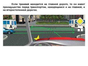 В каких случаях трамвай имеет преимущество перед другими т с