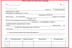 Отчет агента или акт по агентскому договору оказания услуг